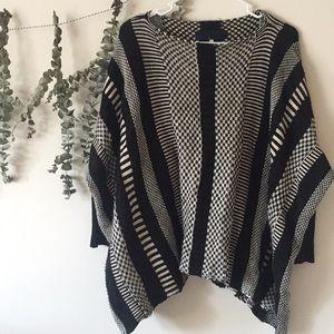 Poncho Style Stripe Sweater